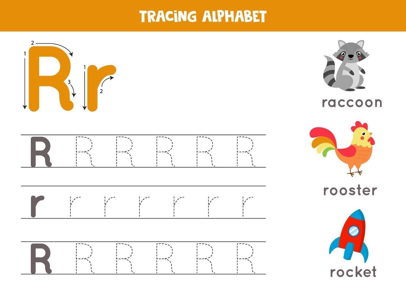 Verfolgung des Buchstabens r mit niedlichen Cartoonbildern. vektor
