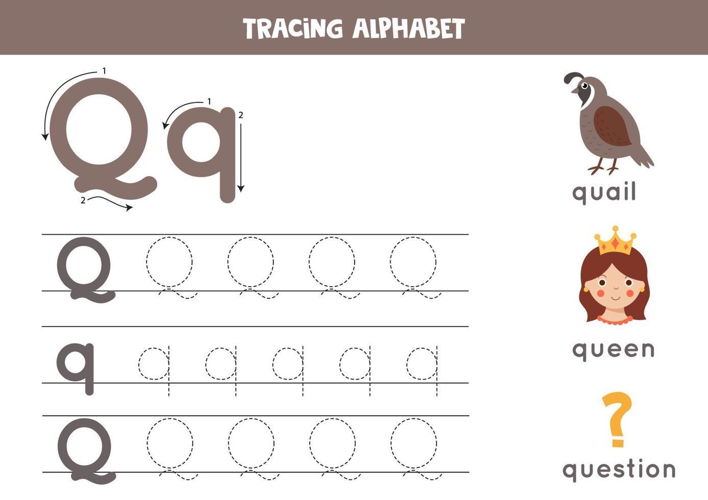 handstil övning med alfabetet bokstaven. spårning q. vektor