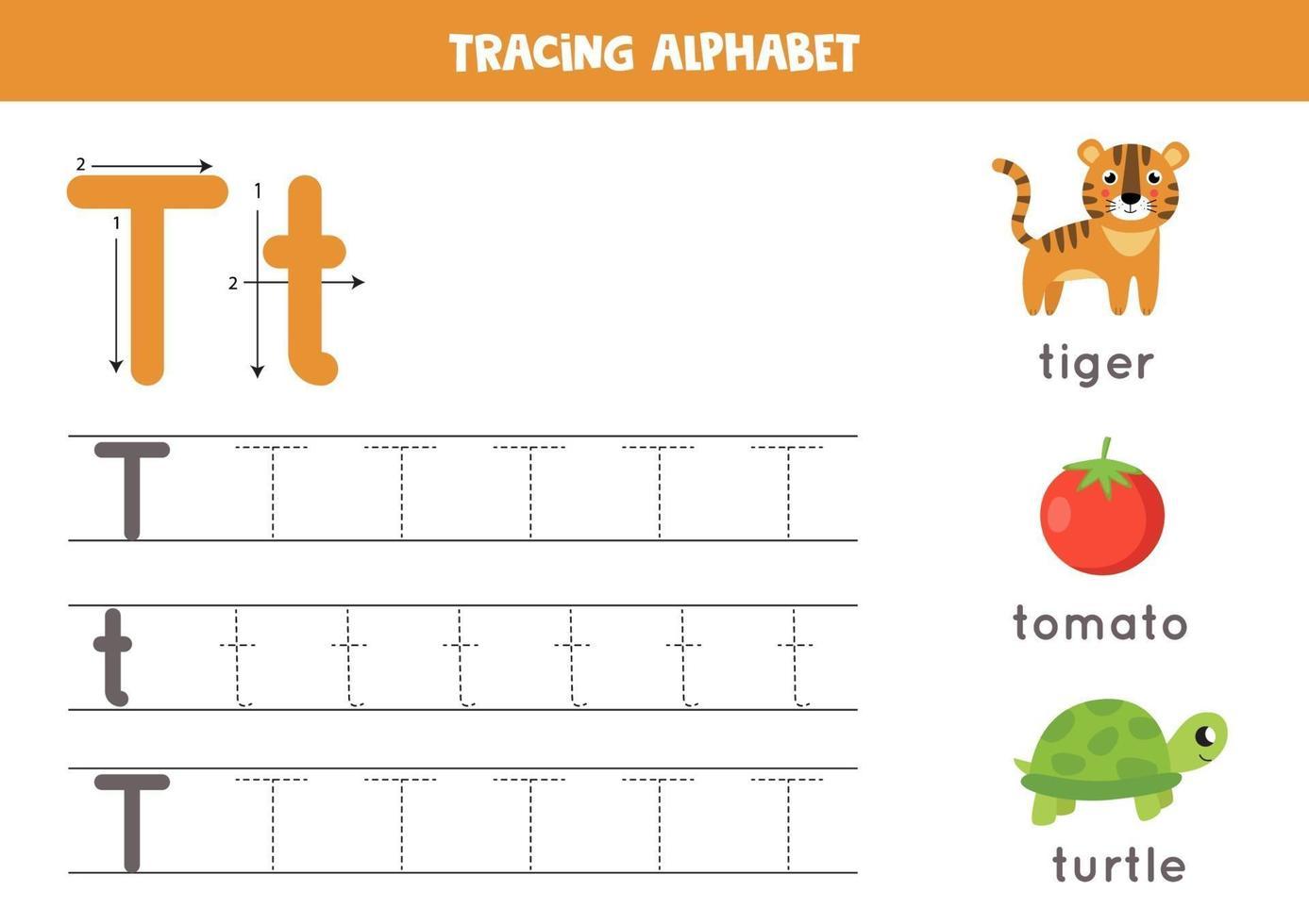 handstil övning med alfabetet bokstaven. spårning t. vektor
