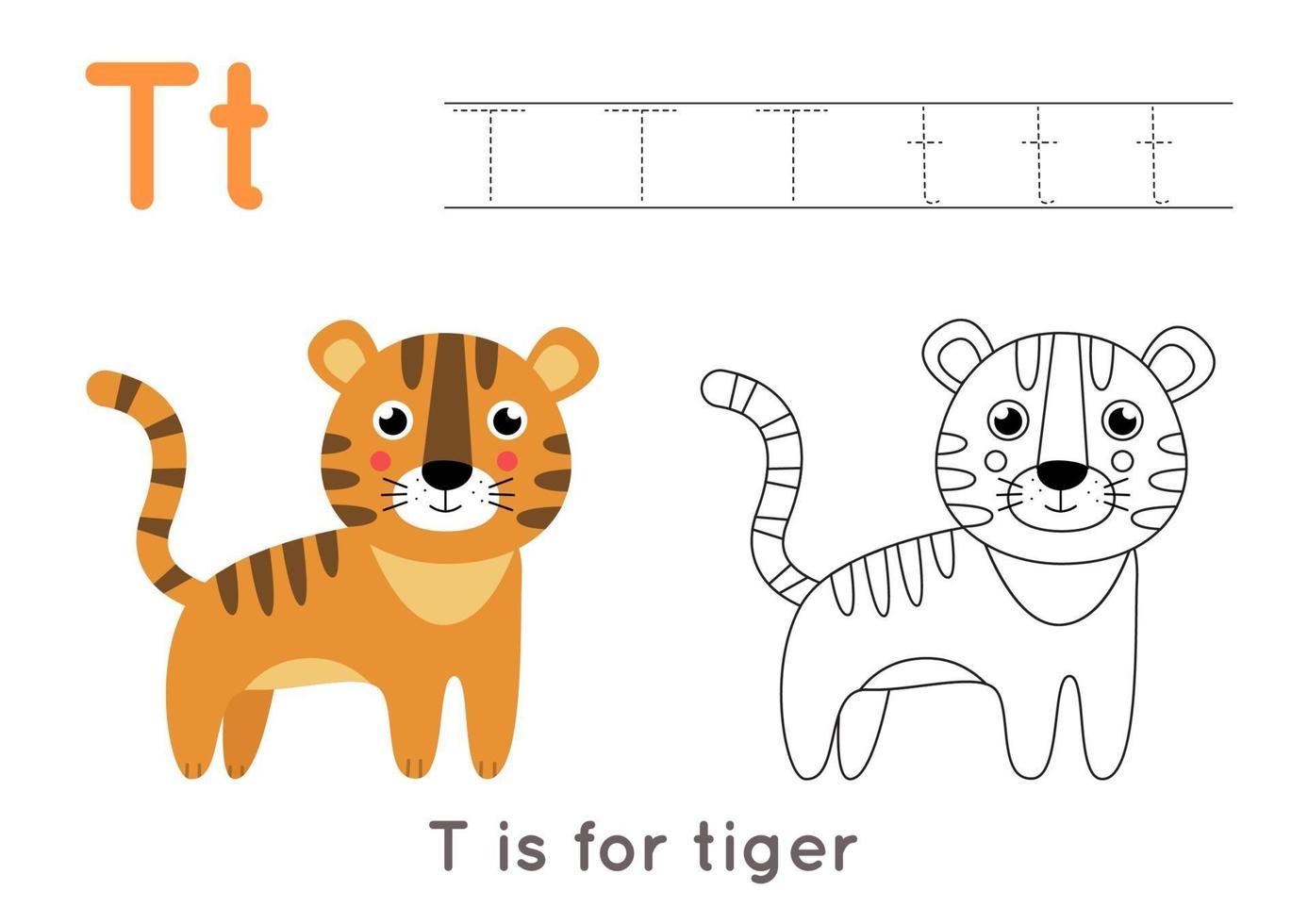 färg- och spårningssida med bokstaven t och söt tecknad tiger. vektor