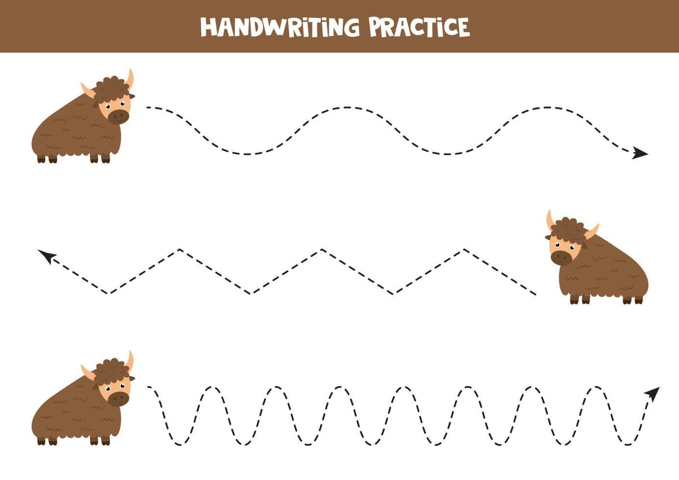spåra linjer med söt tecknad yak. handstil. vektor