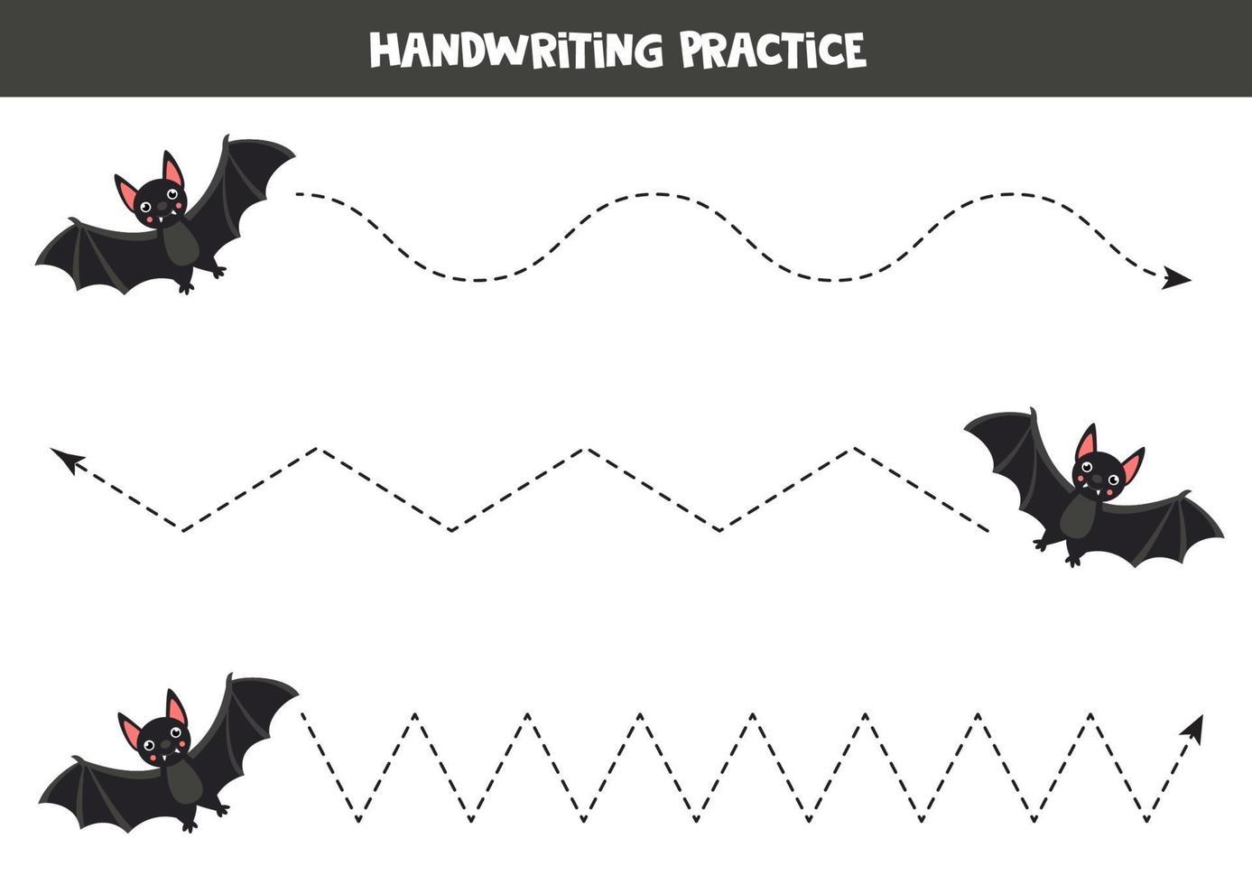 spåra linjer med svart vampyrfladdermus. skrivförmåga kalkylblad. vektor