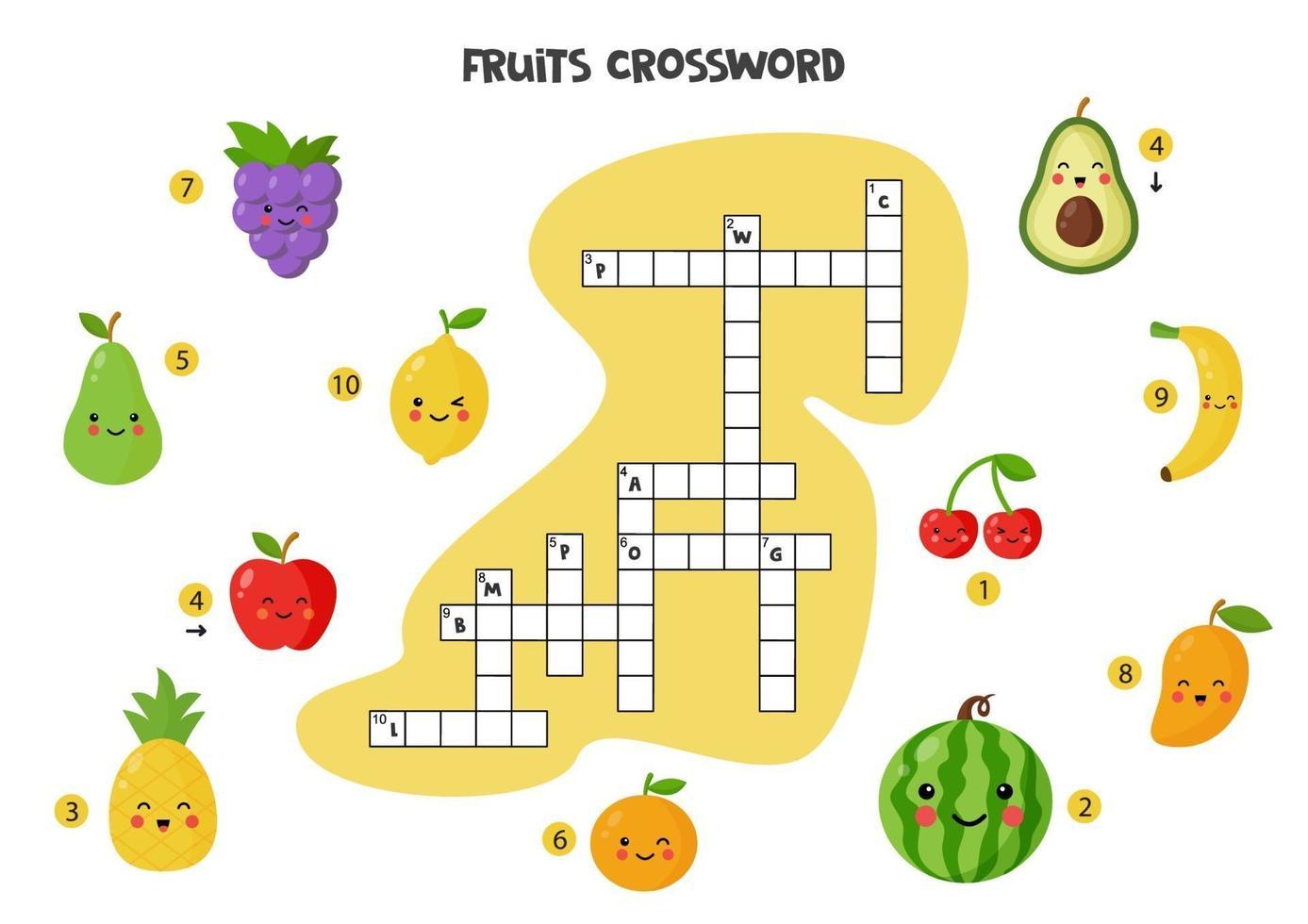 korsord för barn med söta frukter. vektor