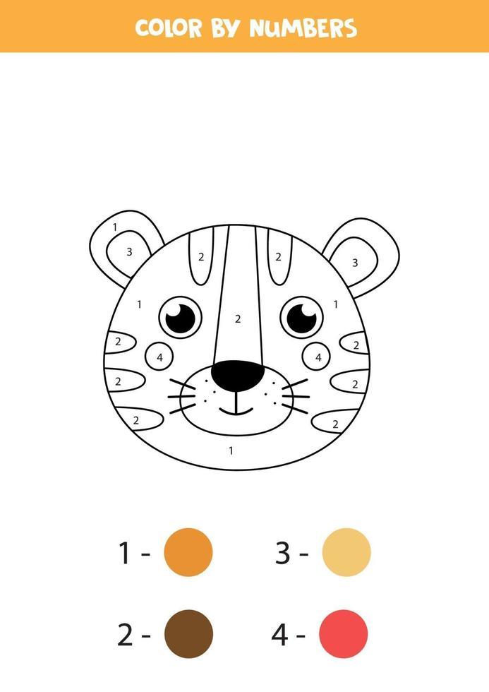 färg söt fox tiger efter siffror. kalkylblad för barn. vektor