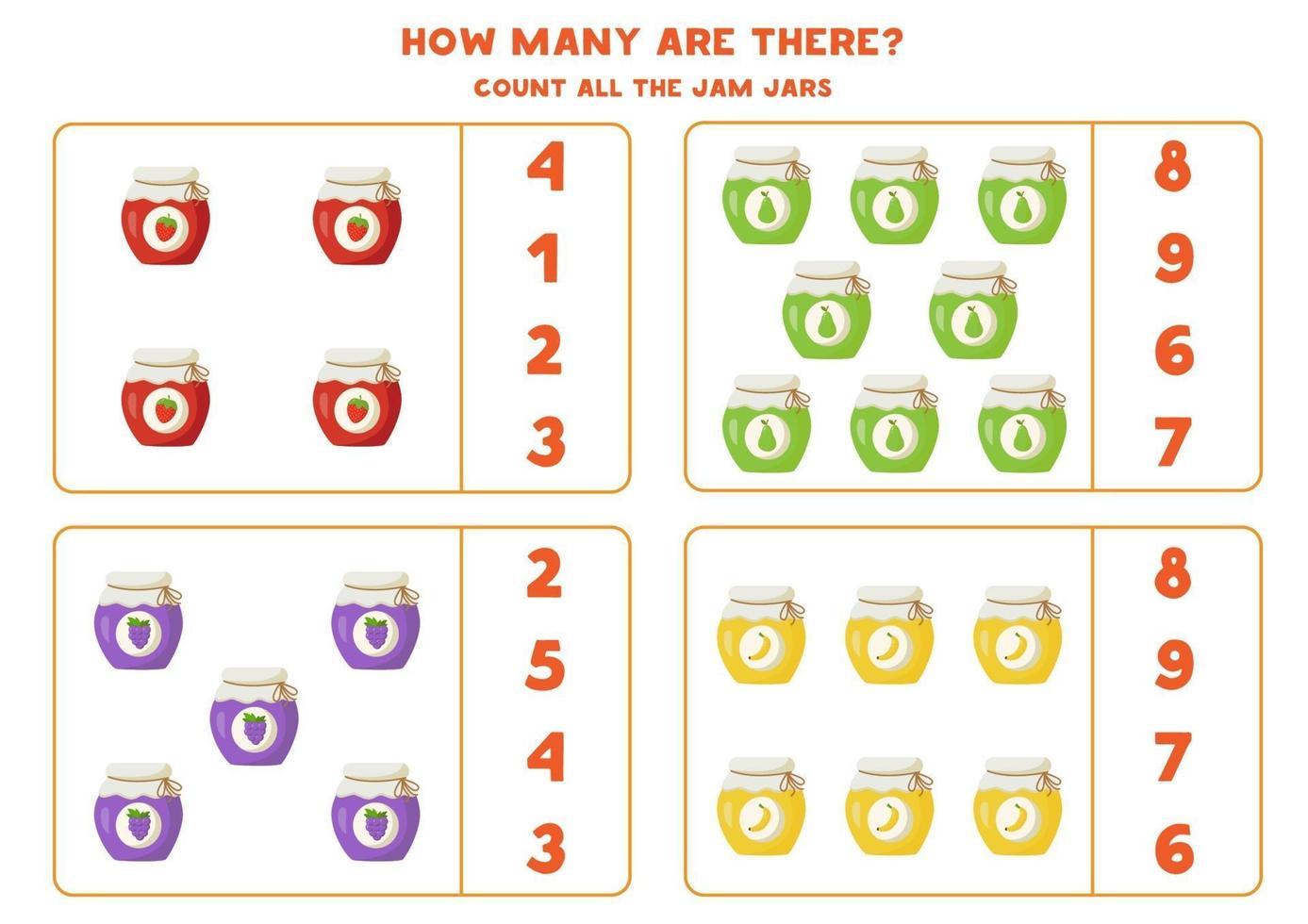 räkna spel med syltburkar. matematik kalkylblad. vektor