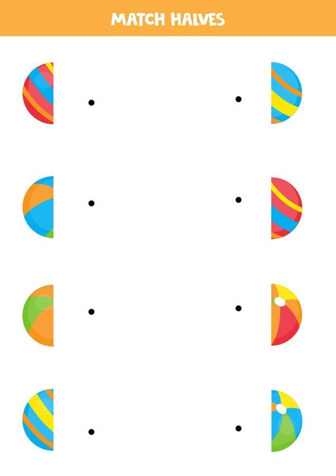 matcha delar av färgglada leksakbollar. logiskt spel för barn. vektor