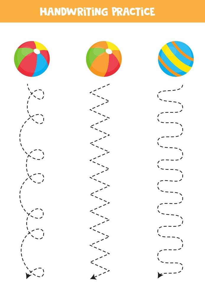 spåra linjerna med färgglada bollar. skrivpraxis. vektor