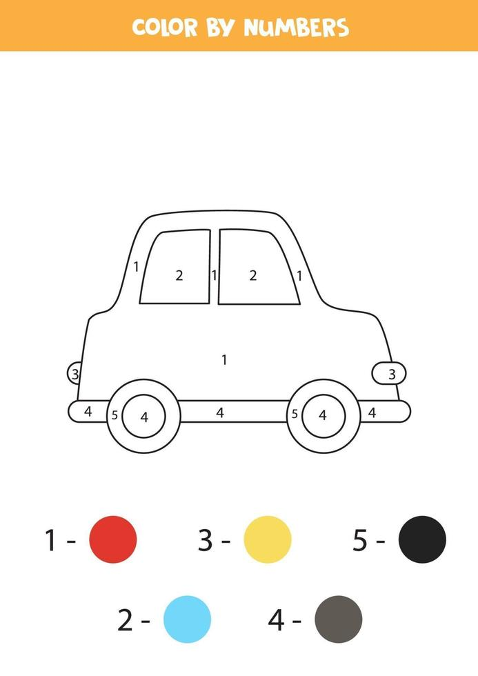 färg tecknad bil med siffror. kalkylblad för barn. vektor