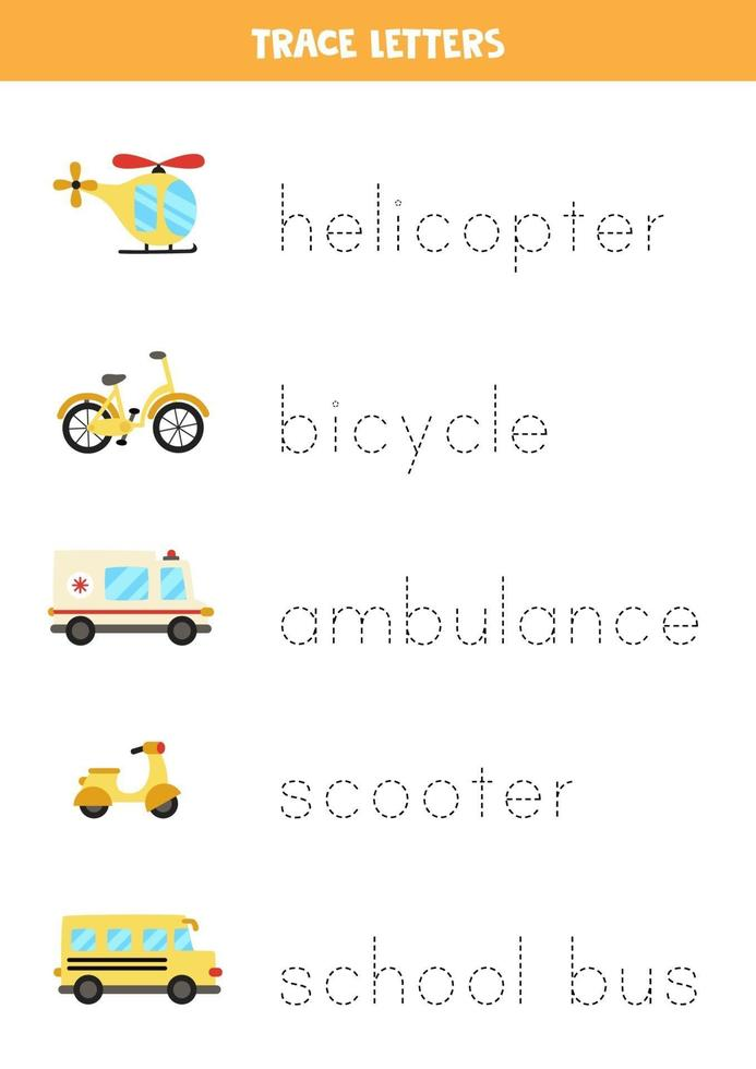 spåra bokstäver med tecknade transportmedel. skrivpraxis. vektor