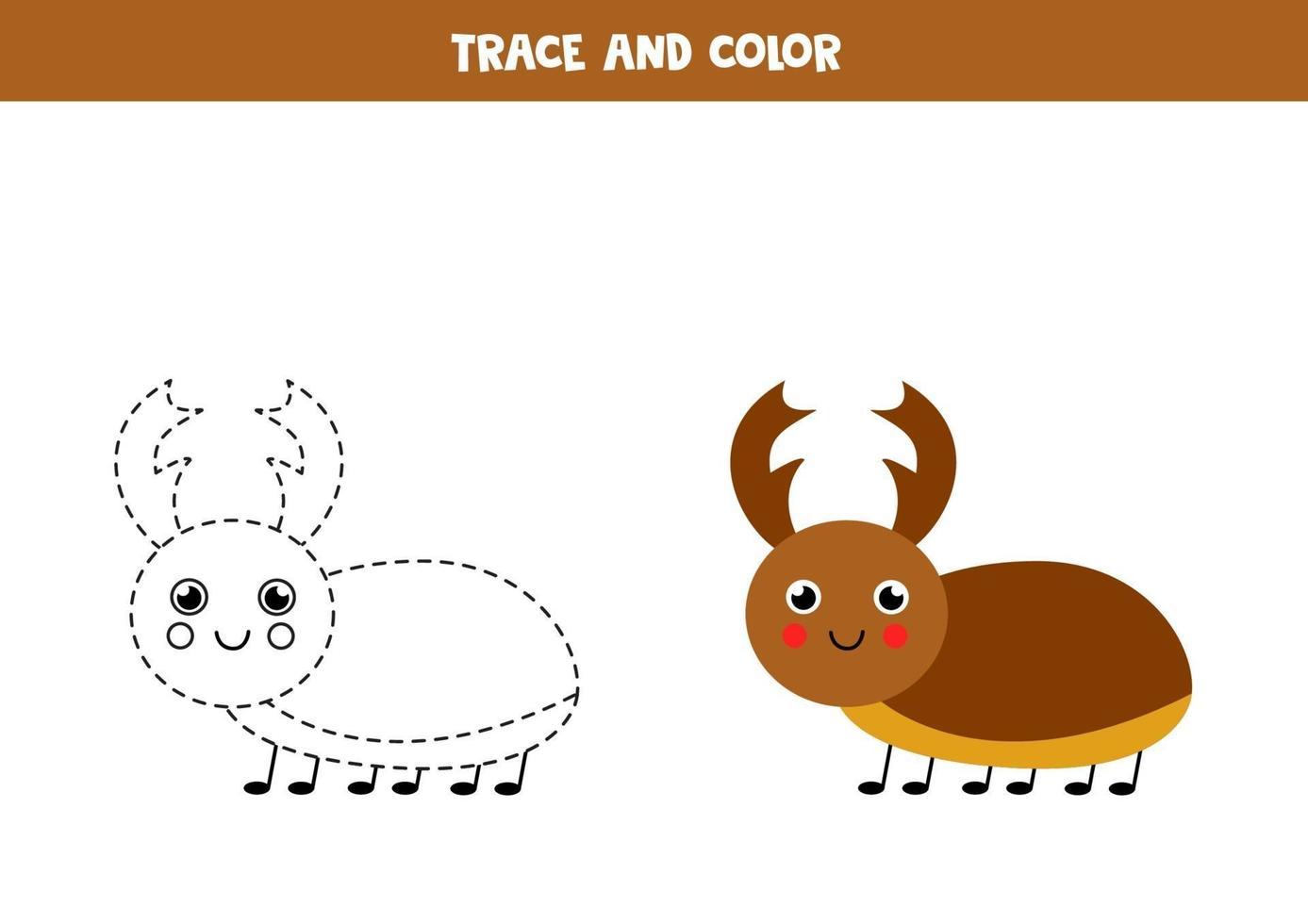 Spur und Farbe niedlichen Hirschkäfer. Arbeitsblatt für Kinder. vektor