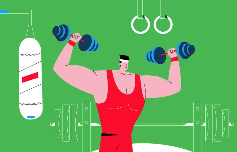 Männlicher hübscher Bodybuilder an der Turnhallen-Vektor-Illustration vektor