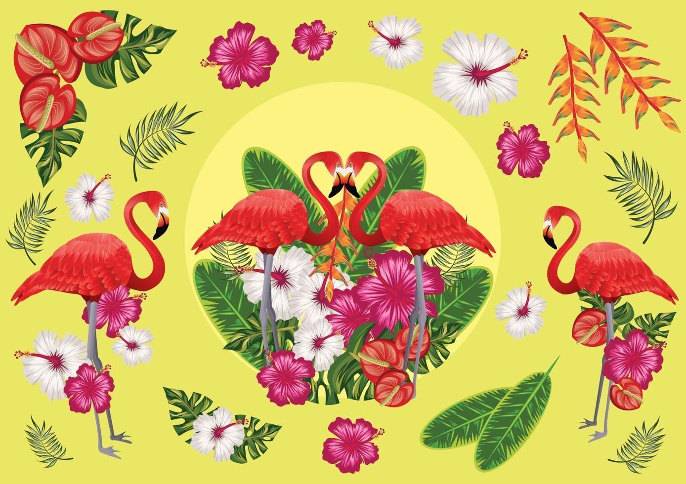 tropiska frukter och flamingor, solnedgångsstrand vektor