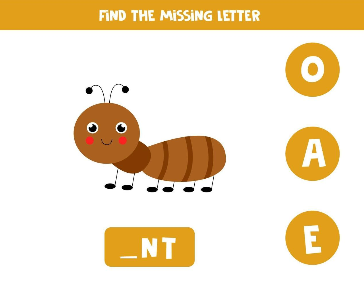hitta saknad brev med söt myra. stavning kalkylblad. vektor