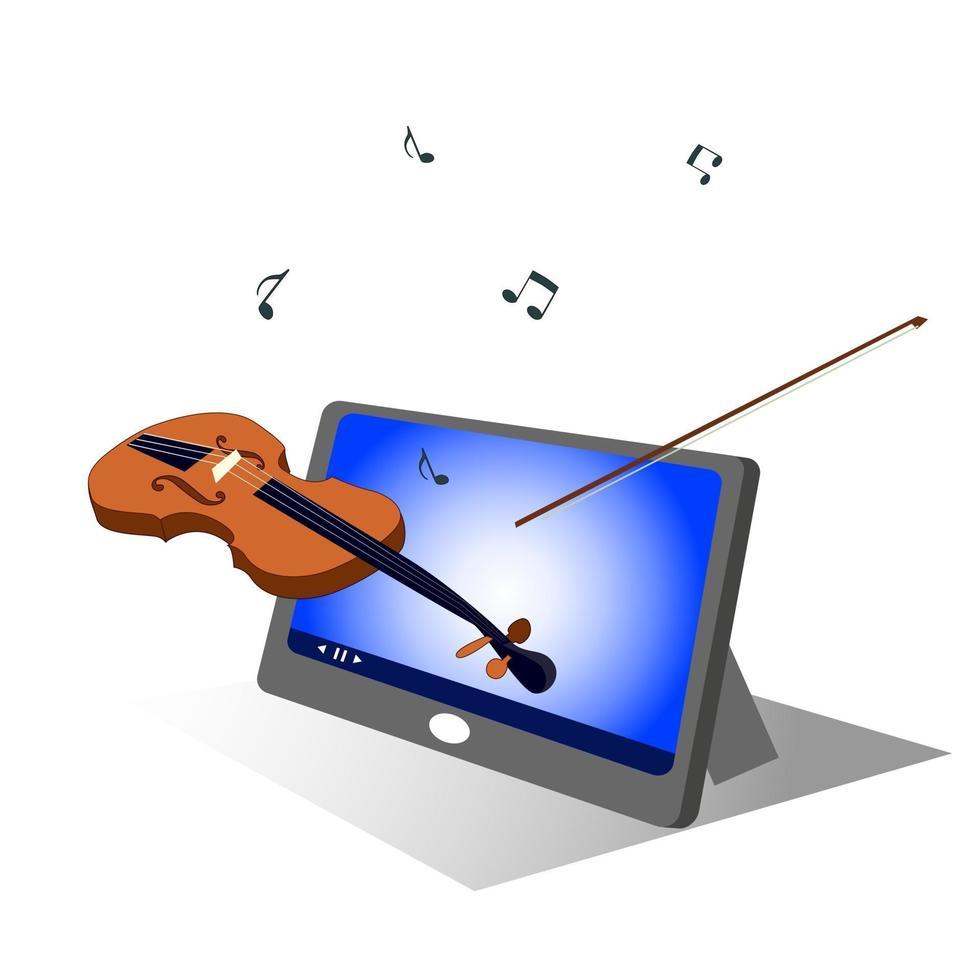 musikutbildning online via surfplatta vektor