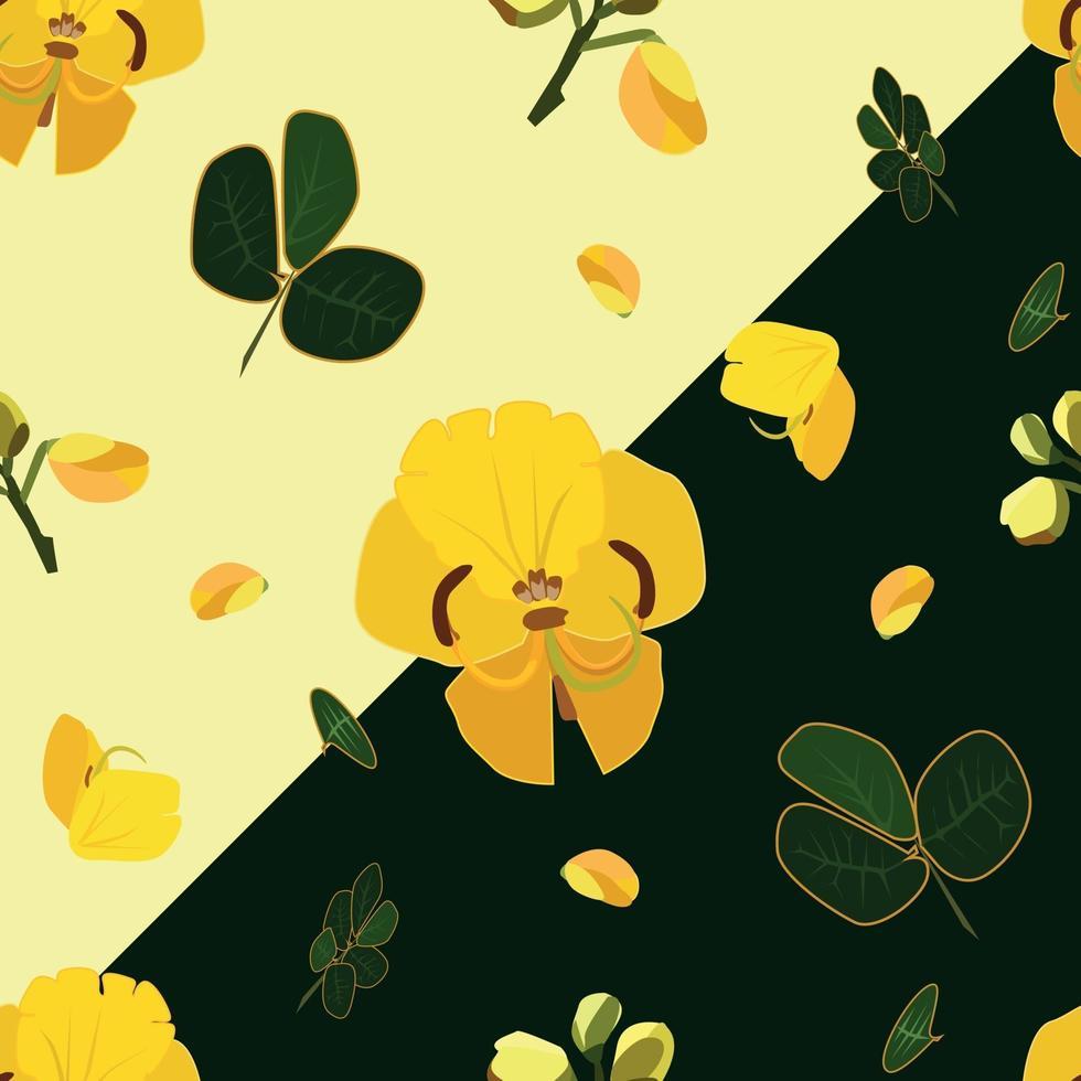 vackert sömlöst mönster av gula kassiafistelblommor vektor