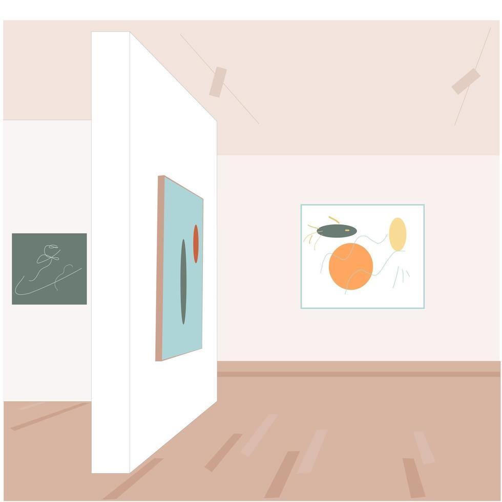 interiör i ett modernt konstgalleri vektor
