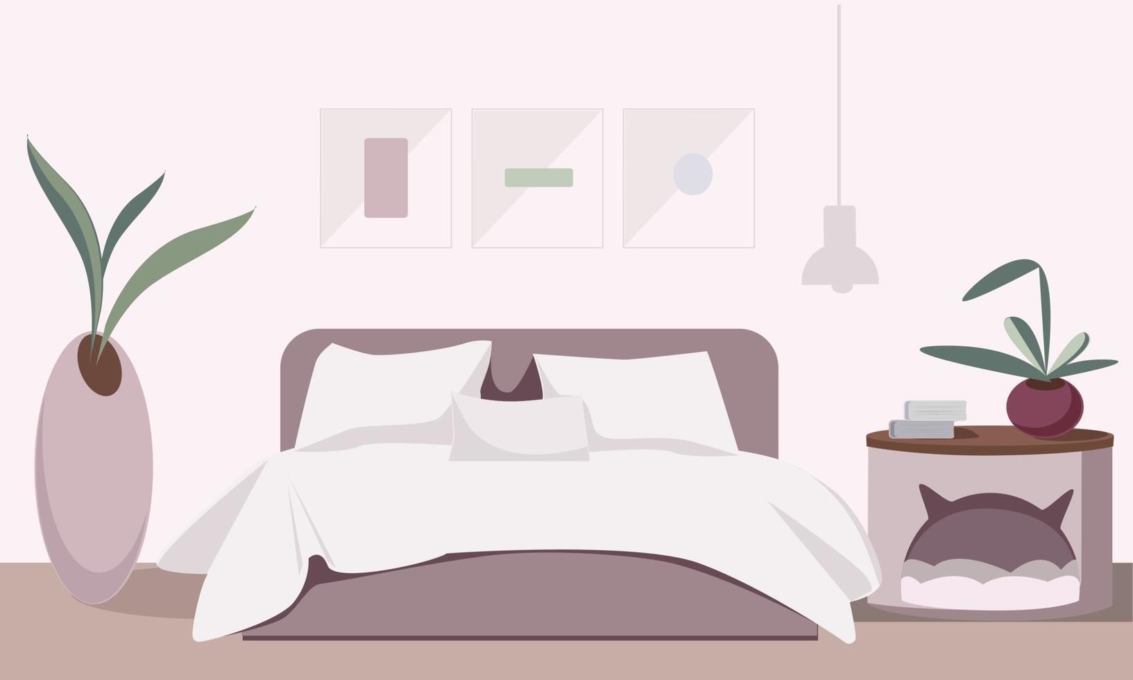 gemütliches Schlafzimmer Interieur mit Zubehör vektor