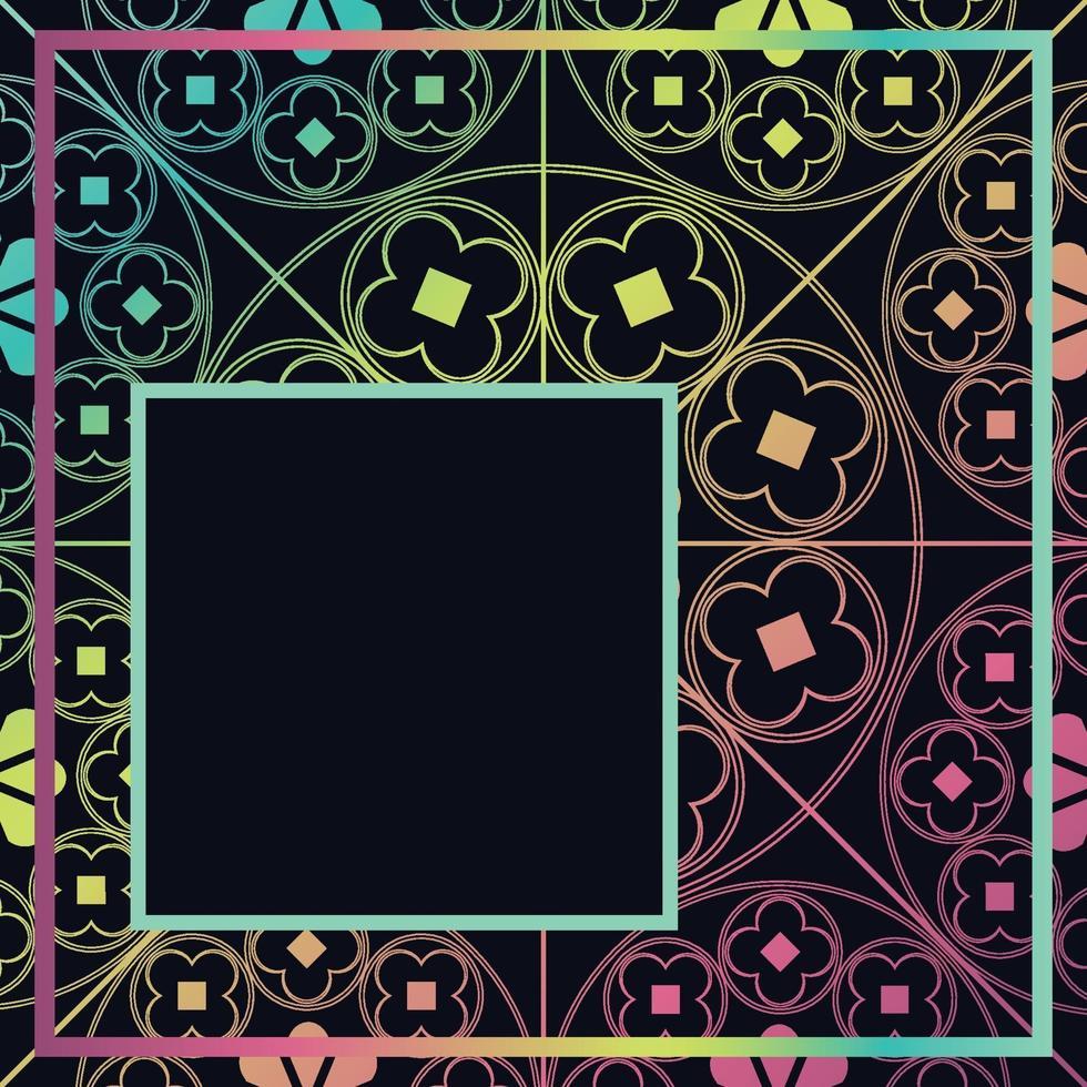blommig medeltida mönster bakgrund mall kvartal mörk regnbåge vektor