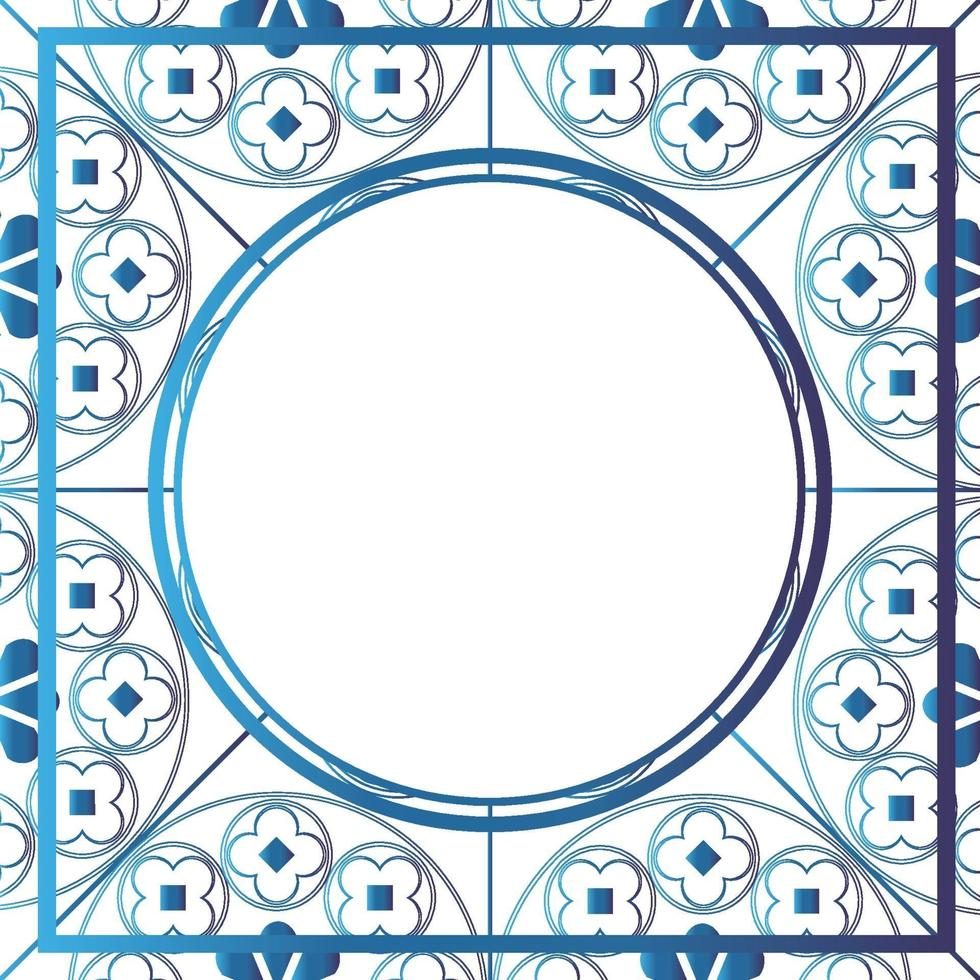 blommor medeltida mönster bakgrund mall cirkel metallic blå vektor