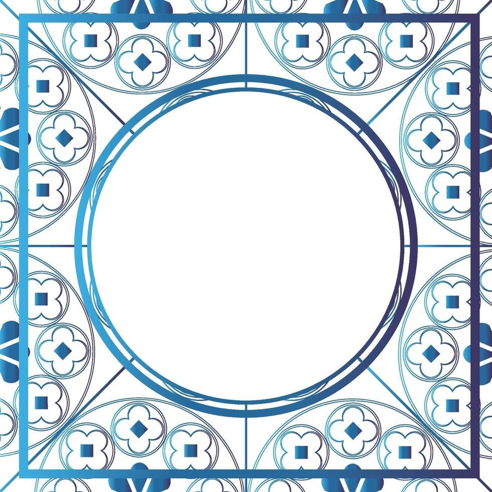 Blumen mittelalterliches Muster Hintergrund Vorlage Kreis Metallic Blau vektor