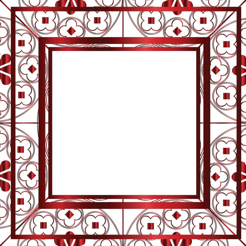 blommor medeltida mönster bakgrund mall fyrkantig metallisk röd vektor