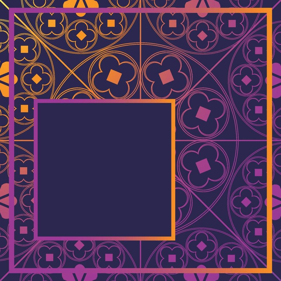 blommor medeltida mönster bakgrund mall kvart glödande lila vektor
