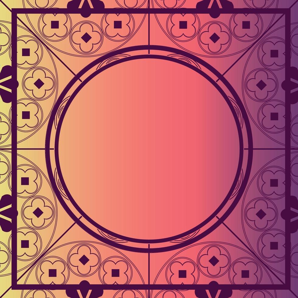 blommor medeltida mönster bakgrund mall cirkel bär rosa vektor