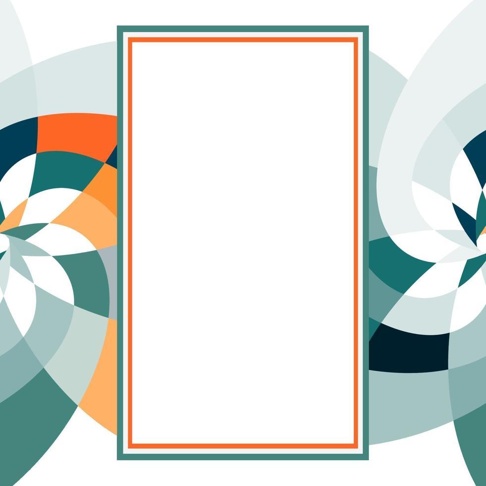 grafisk blomma rektangel mall med kopia utrymme turkos orange vektor
