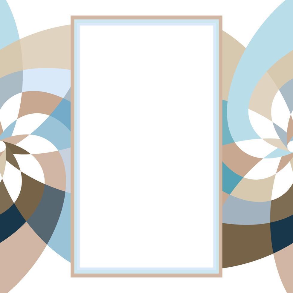 grafisk blomma rektangel mall med kopia utrymme maringrå vektor