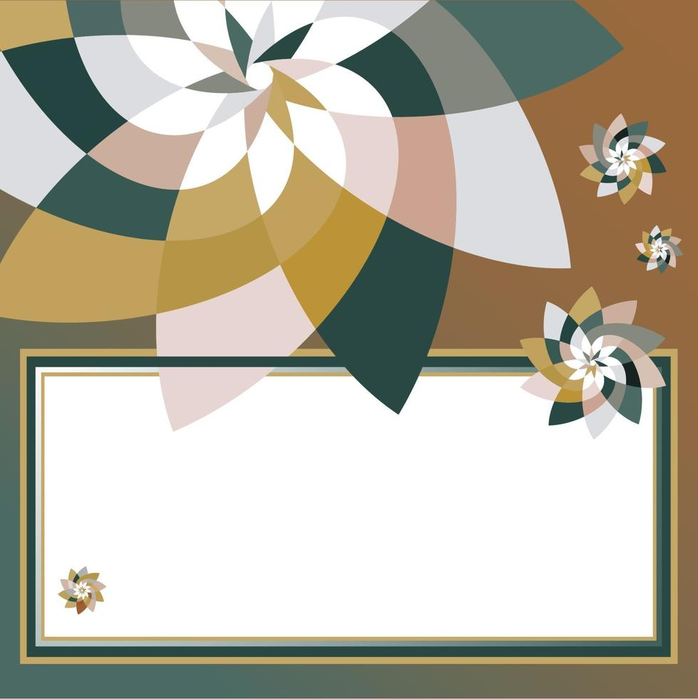 grafisk blomma rektangulär mall med kopia utrymme kricka guld vektor