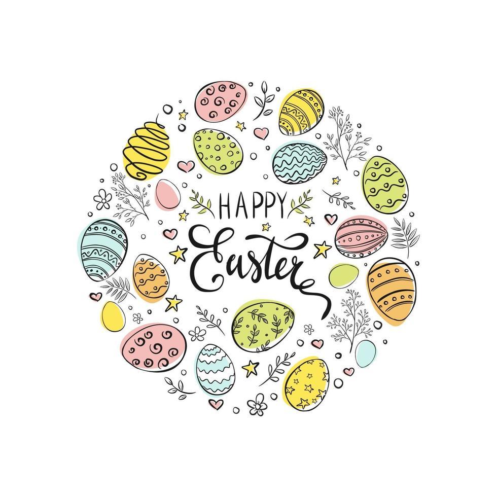 handritad påskägg färgglada komposition på vit bakgrund. glad påsk gratulationskort. dekorativ ram från påskägg i cirkelform. vektor illustration