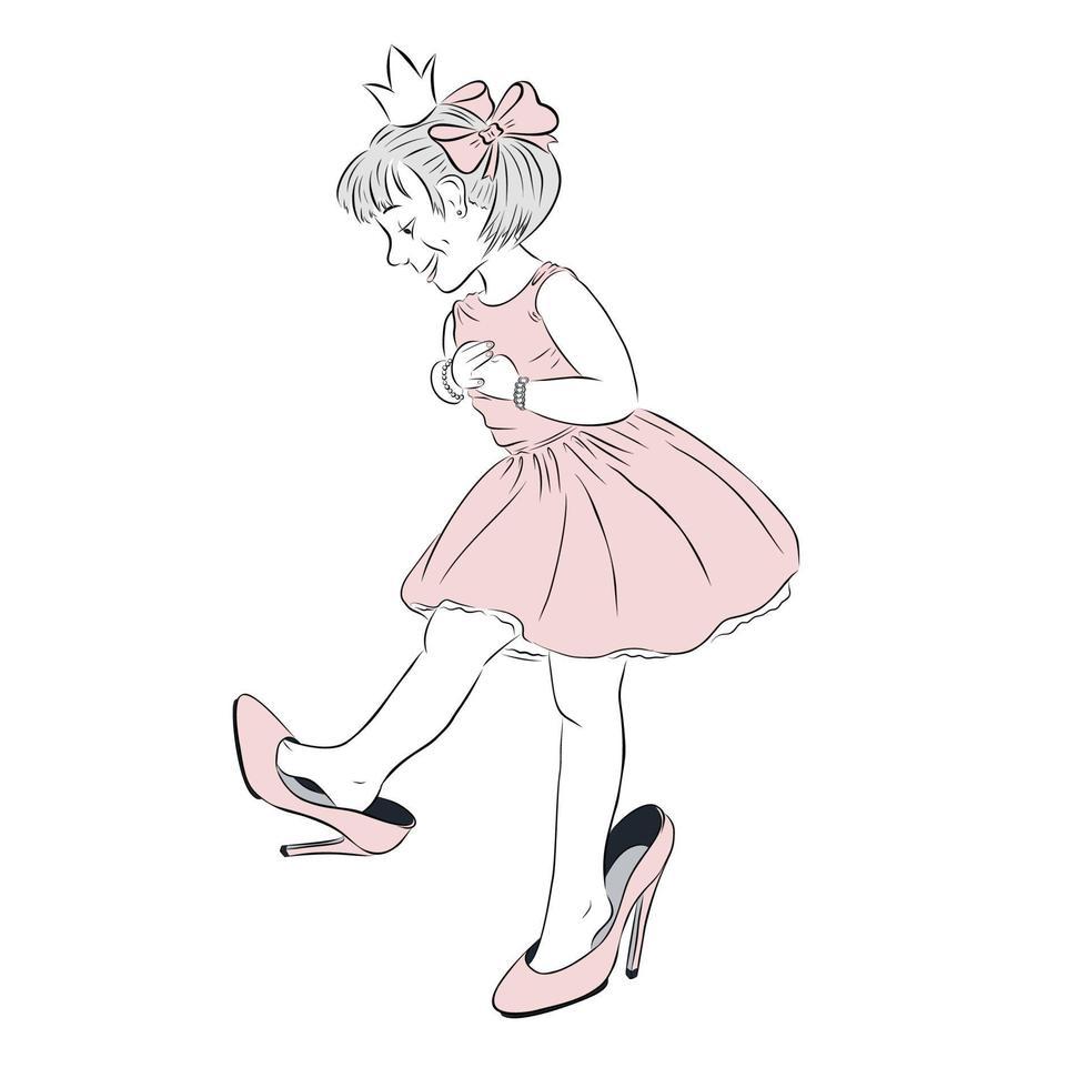 handritad vektorillustration av söt liten flicka i rosa klänning som bär smycken och hennes mammas skor känner sig som en prinsessa. perfekt för vykort och affischer vektor