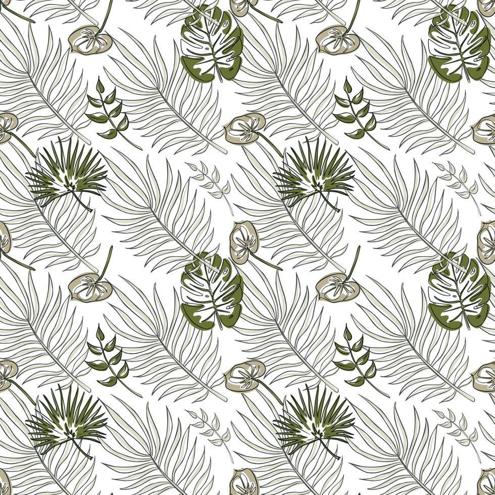 djungel vektor sömlösa mönster. tropiska löv i nyanser av grönt. en linje stil konst. trendigt sommartryck. exotisk sömlös prydnad för bakgrund, omslagspapper, tyg, textil, tapet.