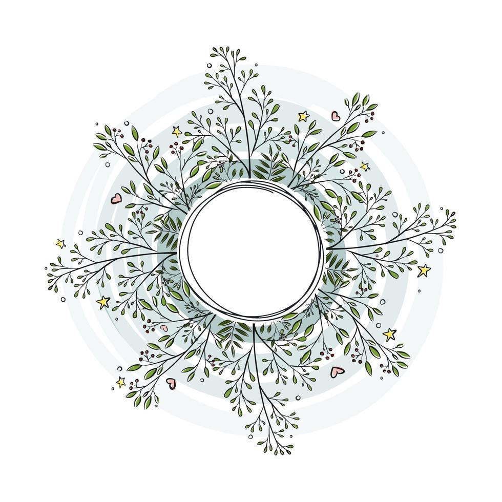 blommig krans, ram av klottergrenar, handritad illustration. isolerad på vit bakgrund. platt stil. perfekt för gratulationskortdesign, etikett, bakgrund. vektor pinnar mall