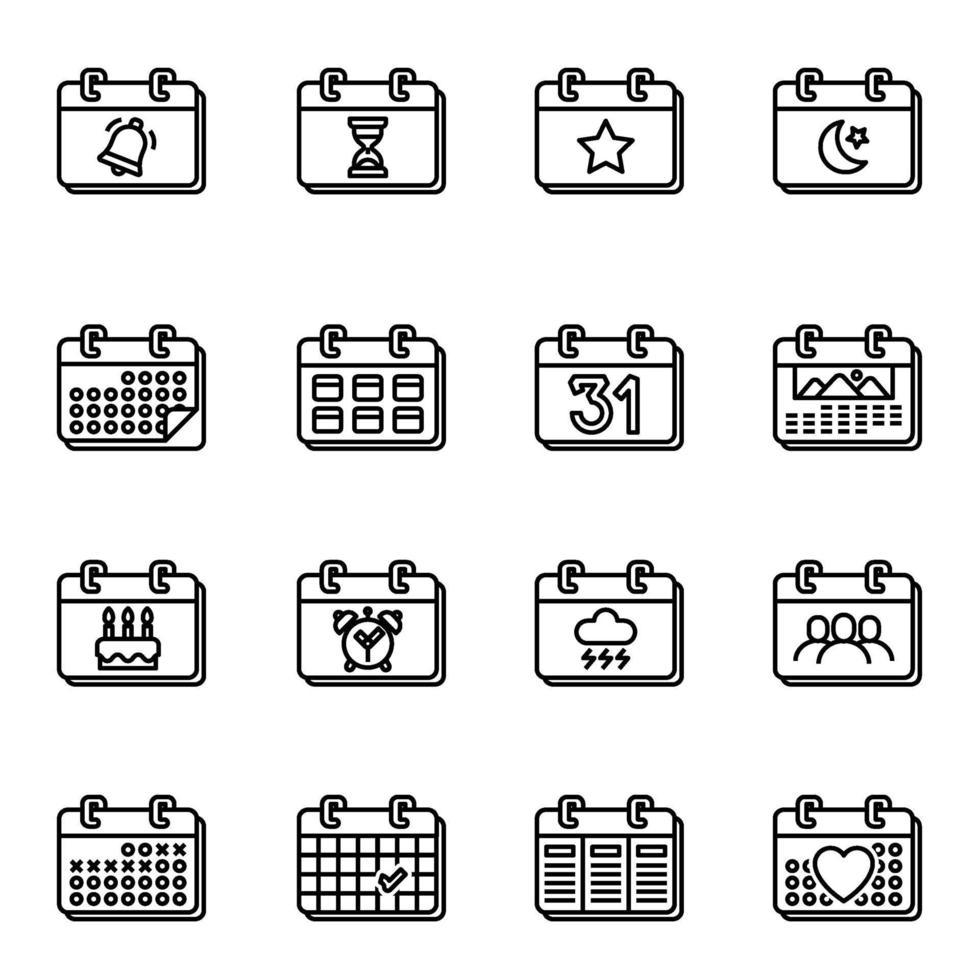 kalender- och datumikoner på vit bakgrundsvektorbild. vektor