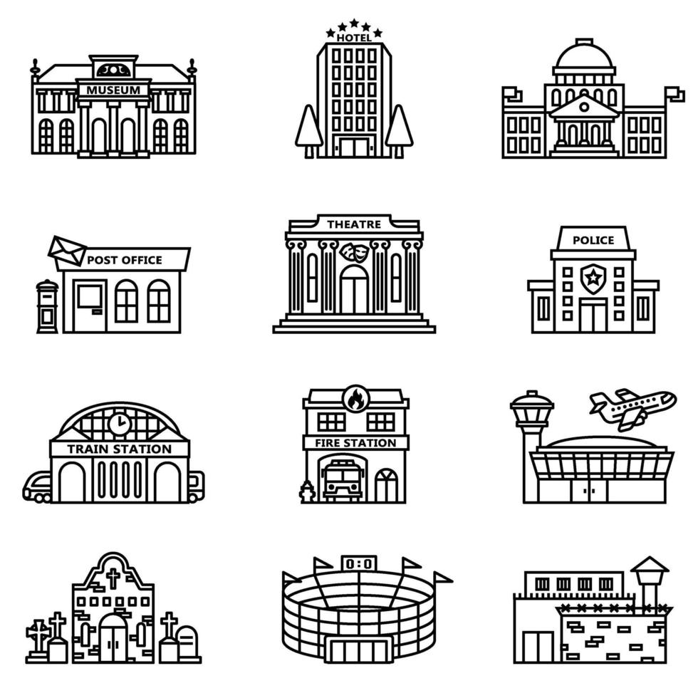 staden bygga ikoner som vektorbild. vektor