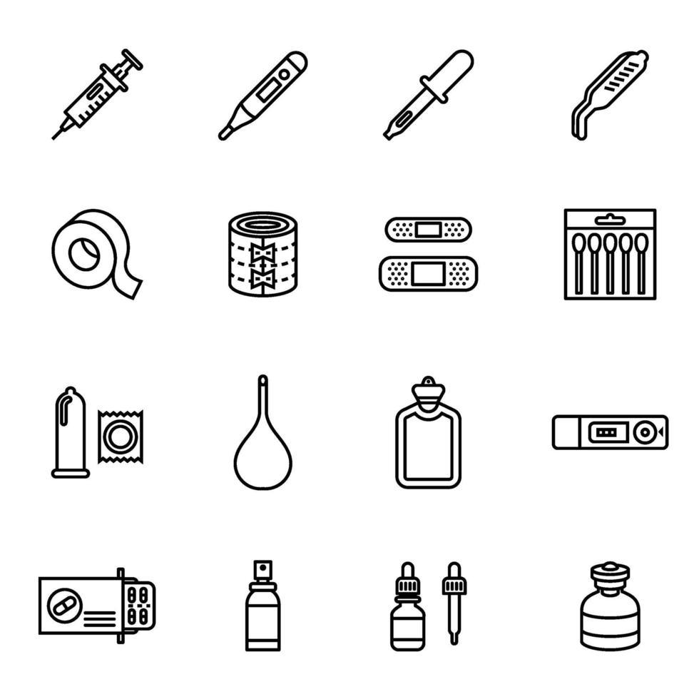 medicin och droger Ikonuppsättning vektorbild. vektor