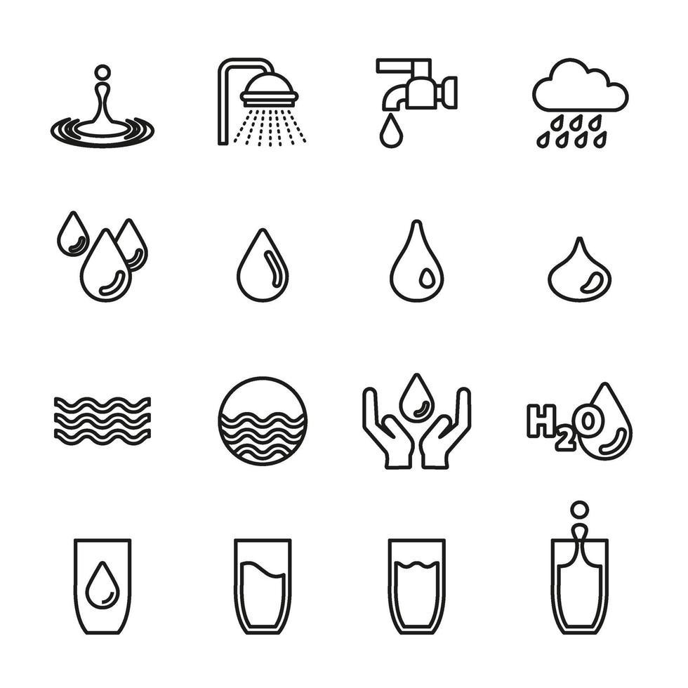 vatten droppe koncept ikonuppsättning vektorbild. vektor
