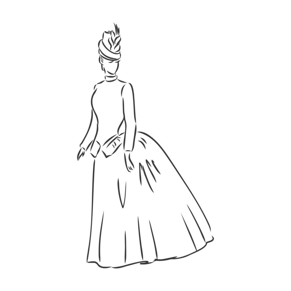 antik klädda damen. gammaldags vektorillustration. viktoriansk kvinna i historisk klänning. vintage stiliserad ritning, retro träsnitt stil. retro klänning, vektorgrafik på vit bakgrund vektor