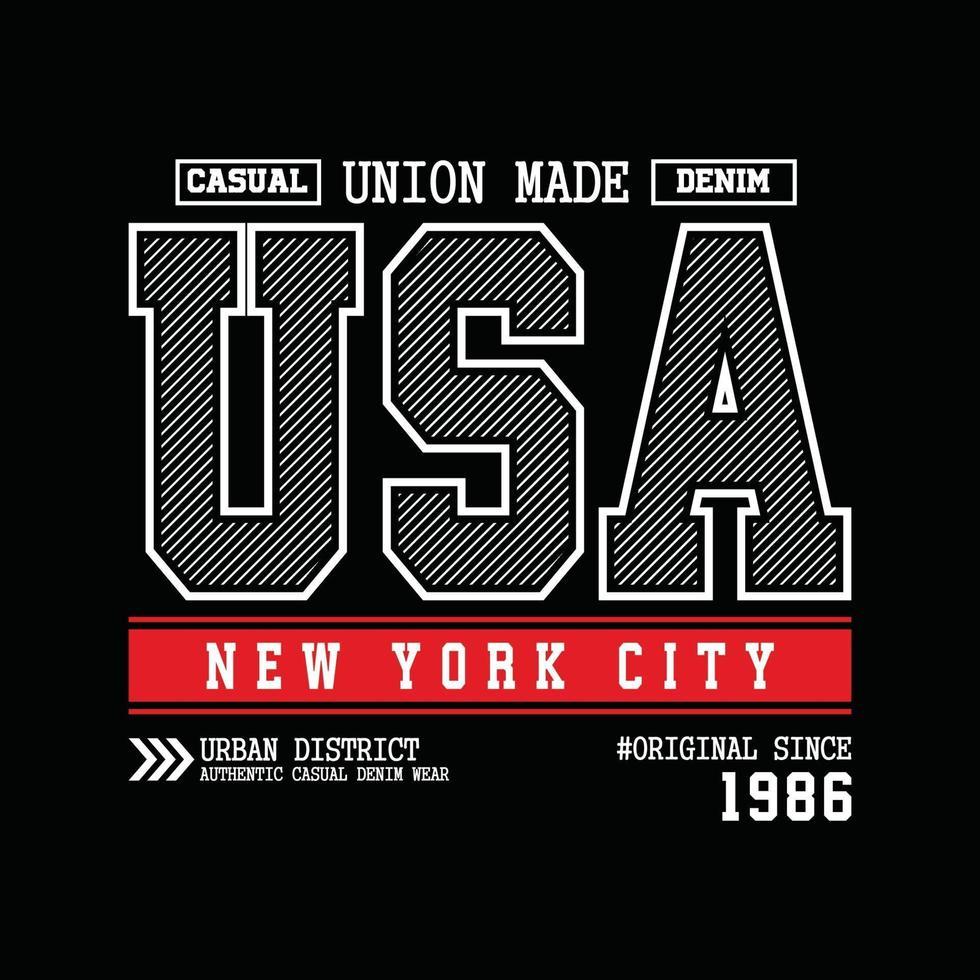 USA New York City denim typografi t-shirt design vektor