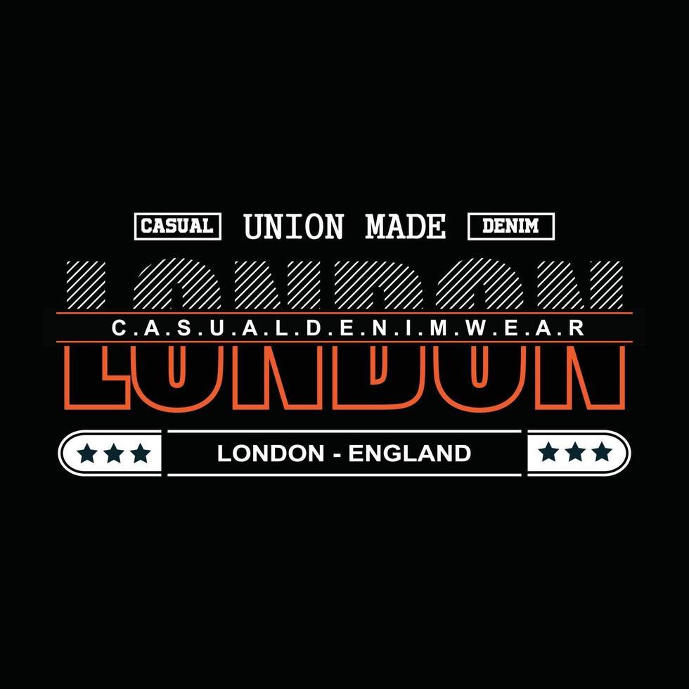 London Denim Typografie T-Shirt Design vektor