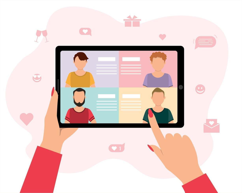 social distansering och kärlek på internet. online dating service med begreppet långväga relationer, en kvinnas hand som håller en surfplatta och väljer män i en virtuell kärleksapp, platt vektorillustration. vektor