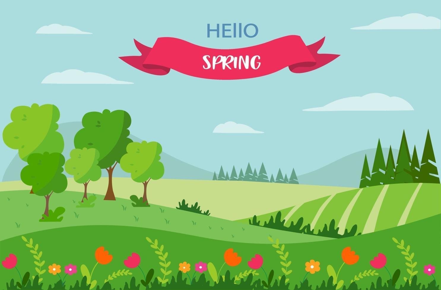 vårlandskap med en bänk, med berg, träd, åkrar och natur. inskriften hej våren. söt platt-stil illustration vektor