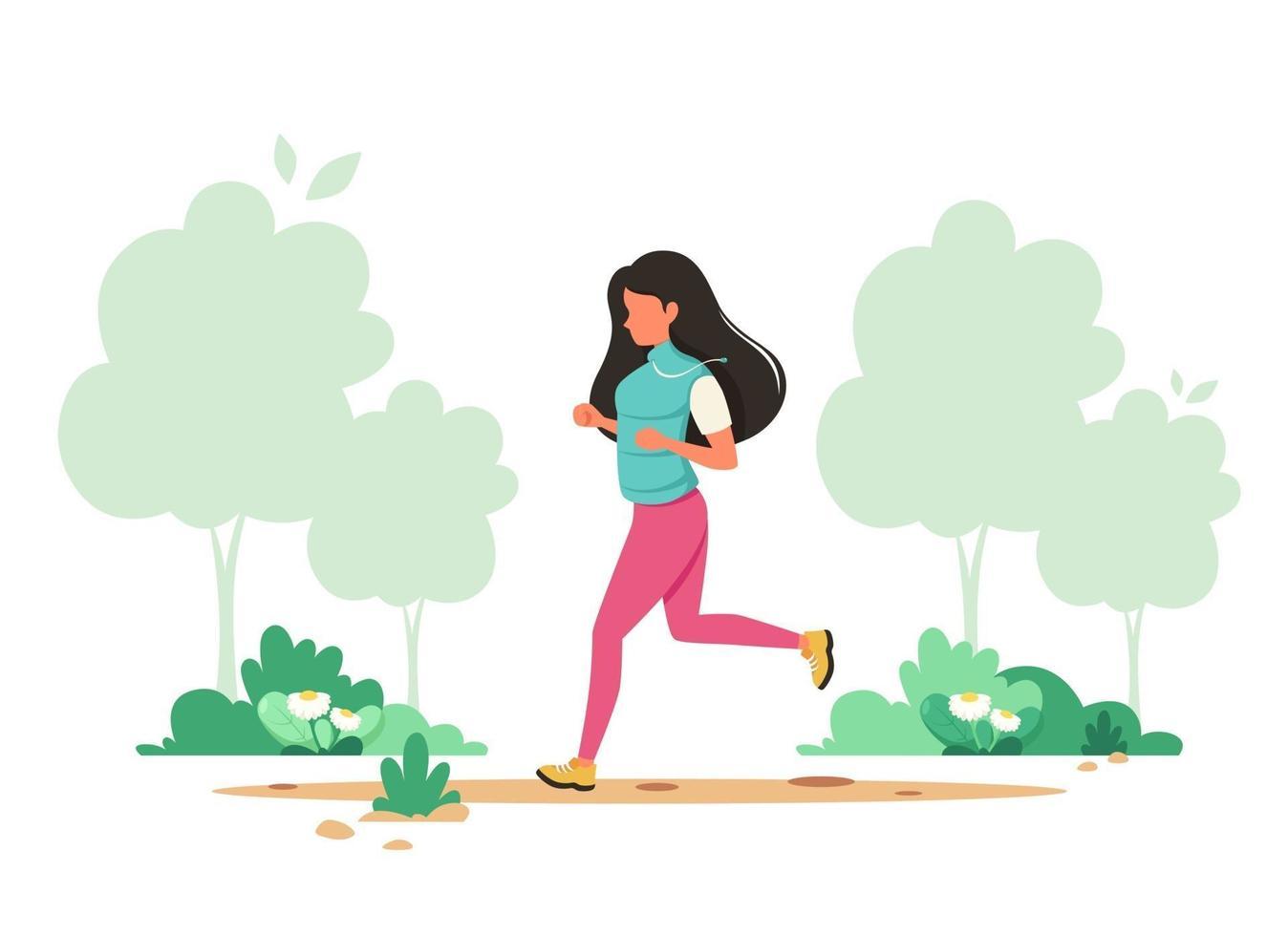 kvinna som joggar i våren parkerar. hälsosam livsstil, sport, utomhusaktivitetskoncept. vektor illustration.