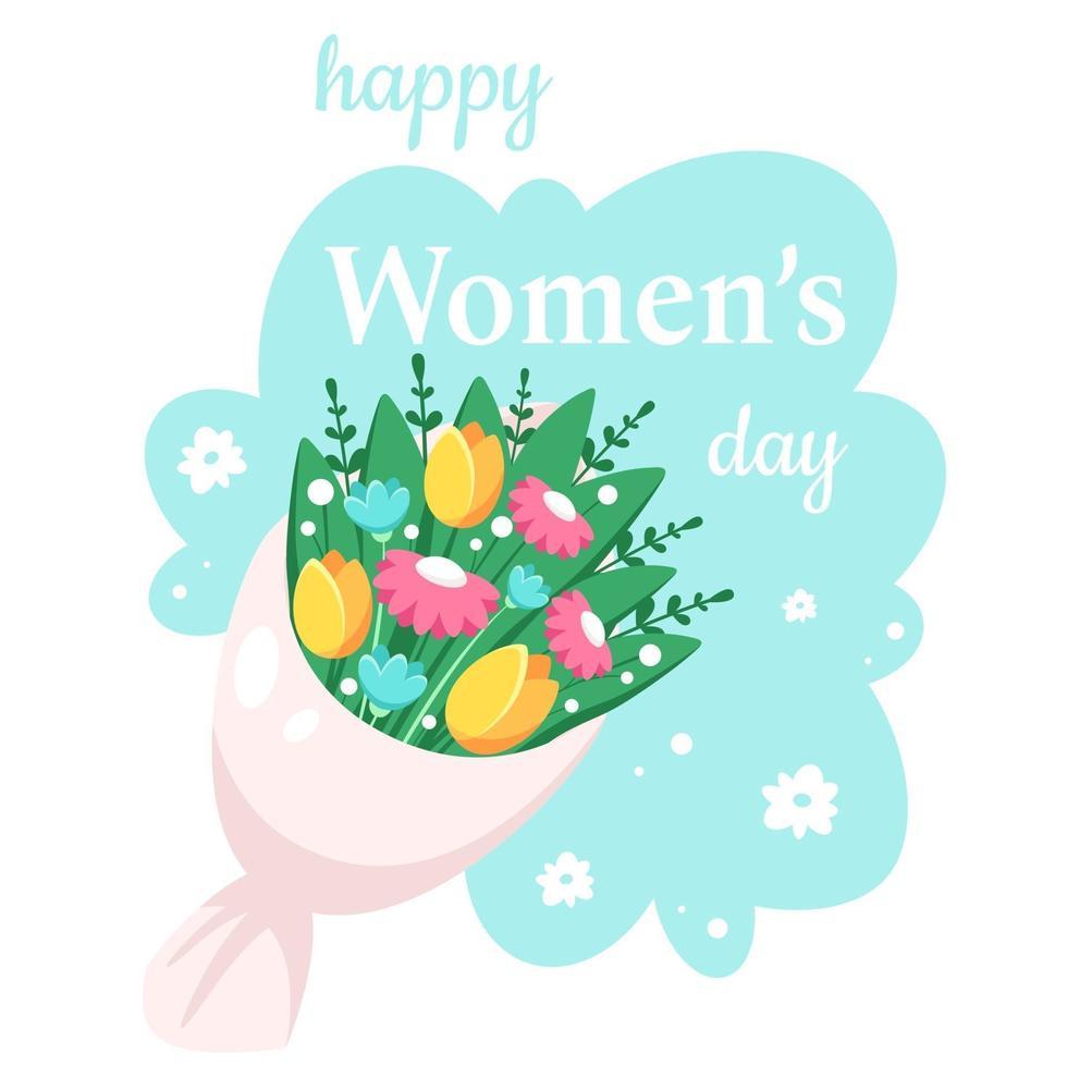 glad kvinnors dag. bukett vårblommor. vektor illustration