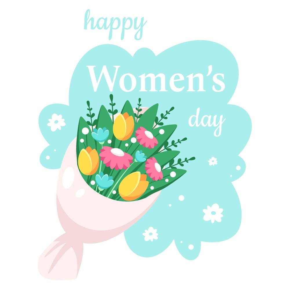 Alles Gute zum Tag der Frauen. Strauß Frühlingsblumen. Vektorillustration vektor