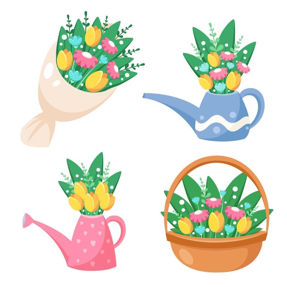 bukett blommor, vattenkanna med blommor, korg med blommor. vårtid. vektor illustration