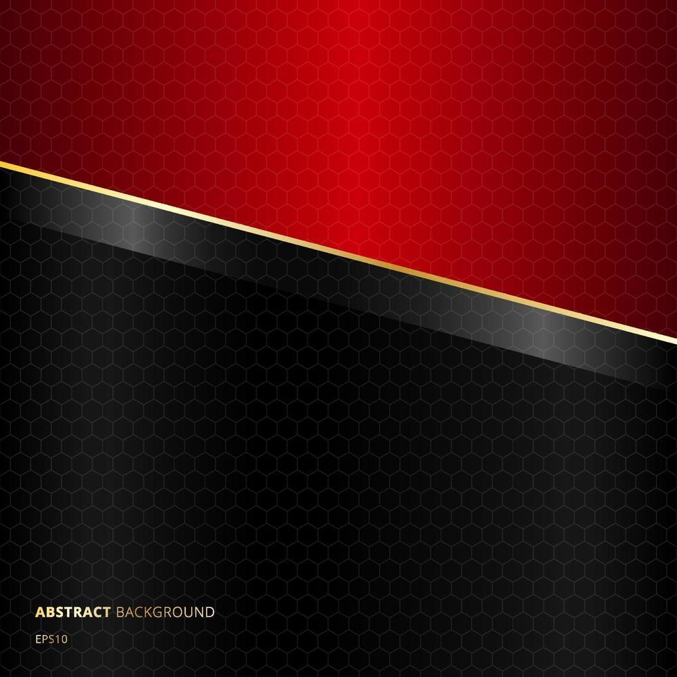 abstrakt diagonal svart och röd mall bakgrund med gyllene linjer och hexagoner mönster konsistens vektor