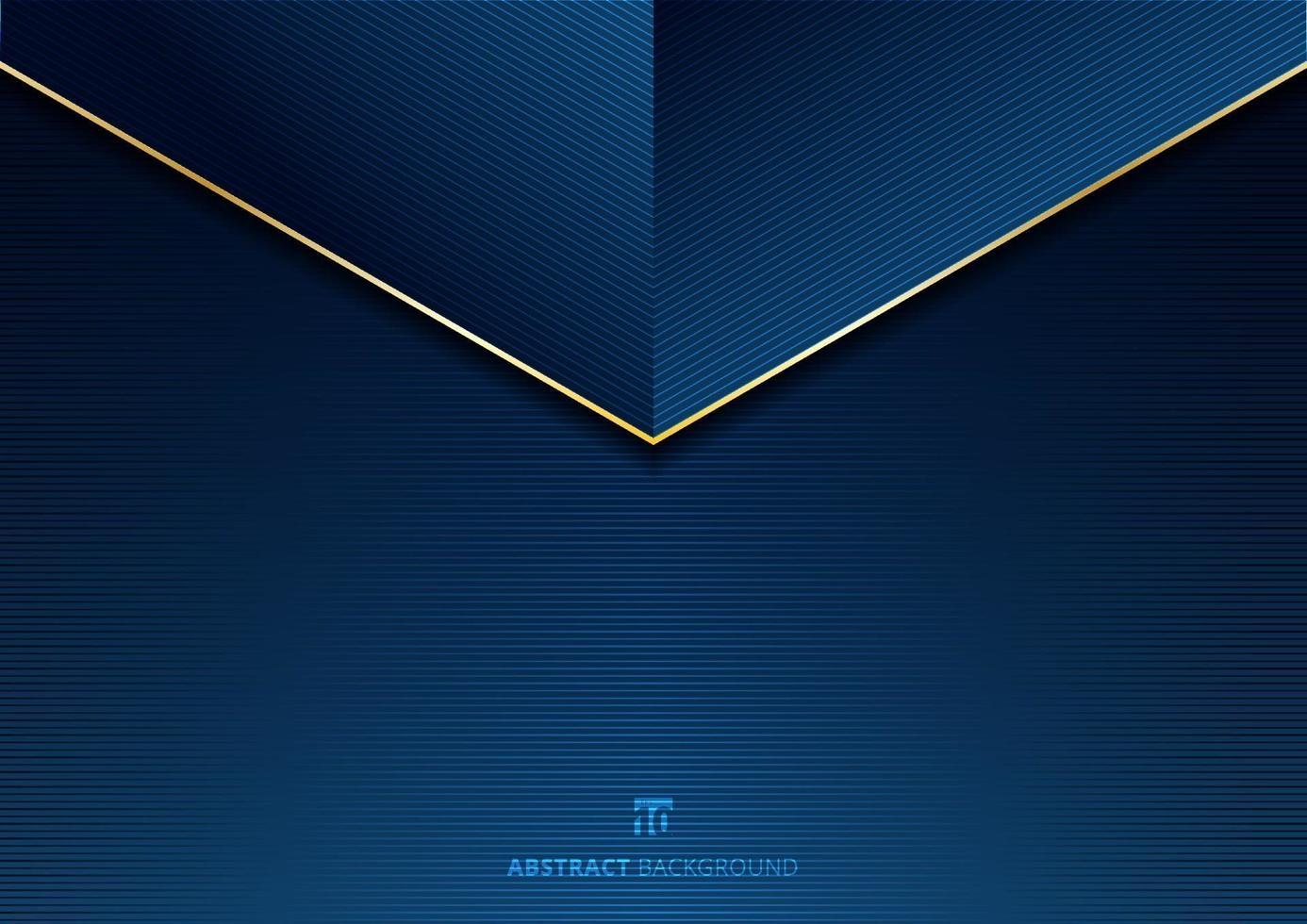 mall abstrakt triangelrubrik med gyllene linjer på blå bakgrundsstruktur. vektor