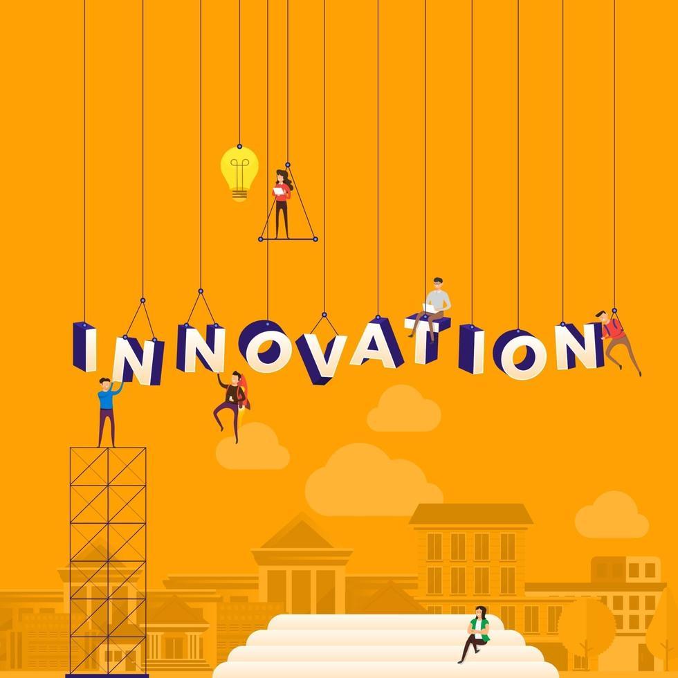 team hårt på att konstruera ordet innovation vektor